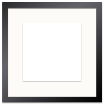 black frame single opening white mat